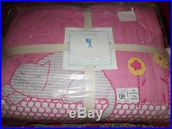 Pottery Barn Kids Kitty Quilt, Full Queen, 2 Standard Shams, Kitty Deco Pillow