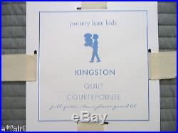 POTTERY BARN KIDS Kingston FULL/QUEEN Quilt with2 STANDARD Shams, LIGHT GRAY, NEW