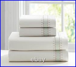 POTTERY BARN KIDS MONIQUE LHUILLIER Garden Cuff Full Sheet + 2 Pillowcases NEW