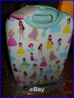 POTTERY BARN KIDS Mackenzie Aqua Disney Princess Hard Sided Luggage, NEW, LARGE