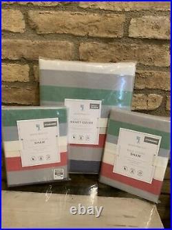 POTTERY BARN KIDS Max Stripe Full Queen Duvet Bedding Set Standard Shams 3pc New