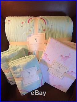POTTERY BARN KIDS Molly Rainbow F/Q Quilt & Shams Unicorn FULL Sheet 7pc Set NEW