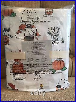 POTTERY BARN KIDS Peanuts Snoopy Halloween Sheet Set Twin New NWT In Plastic