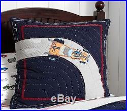 Pottery Barn Kids Race Car Twin Quilt + Std Sham + Pillowcase New Navy Blue