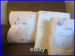 POTTERY BARN KIDS Rainbow Unicorn Twin Quilt Sham & Twin Sheets 5pc Set NEW-PINK