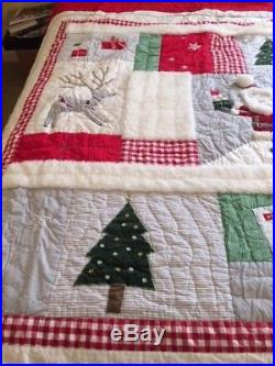 POTTERY BARN KIDS Santa Holiday Full/Queen Quilt 2015 Used for display