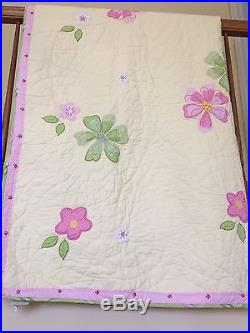 POTTERY BARN KIDS Twin EMILY Floral Yellow Pink Green Quilted Blanket Two Shams