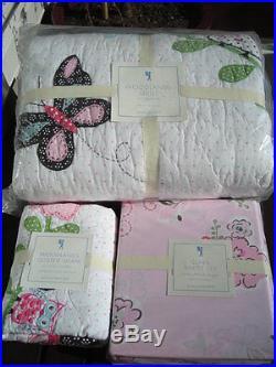Pottery Barn Kids Woodland Owls Twin Quilt Standard Sham & Clara Sheet Set