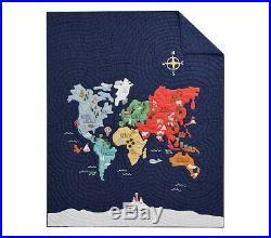 POTTERY BARN KIDS World Map TWIN Quilt Sham & Silly Safari Twin Sheets Set NEW