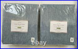 Pottery Barn 2 BELGIAN FLAX LINEN Curtains 50x96 Pole Top Blue Chambray Blackout