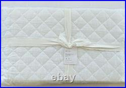 Pottery Barn BELGIAN FLAX LINEN DIAMOND Quilt Full/Queen White NWT