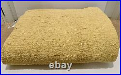 Pottery Barn Belgian Flax Linen Floral Stitch Quilt King/Cal King, Yellow