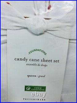 Pottery Barn Christmas Buffalo Check Duvet Candy Cane Queen Sheet Set Shams Set