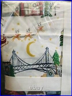 Pottery Barn Christmas In The City Organic Cotton Queen Sheet Set Bedding