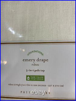 Pottery Barn Emery Linen/Cotton Rod Pocket Curtain, 50x108in, White, FREE SHIP
