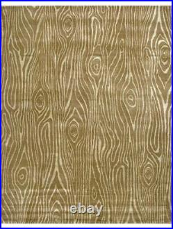 Pottery Barn Faux Bois Modern Abstract Handmade Wool Silk Area Rug 8' x 10