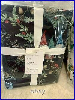 Pottery Barn Forest Gnome organic KING sheet set Christmas holiday BLACK