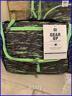 Pottery Barn Gear-Up Green Static Large Backpack Lunchbox Set Teen New