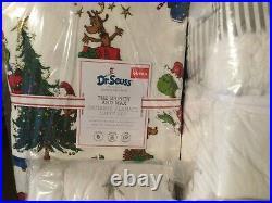 Pottery Barn Kids 2020 Dr. Seuss Grinch Queen Quilt STD Shams Sheet Set Flannel
