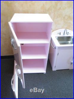 Pottery Barn Kids 3 Pc Kitchen Set Pink Retro Girls Fridge Sink Stove / Oven