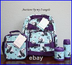 Pottery Barn Kids 4-pc AQUA PANDA Large Backpack Lunch Box Water Bottle Thermos