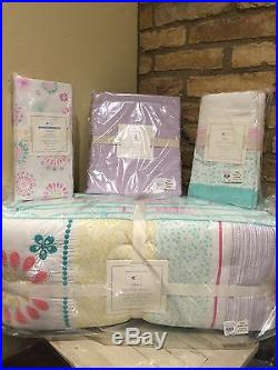 Pottery Barn Kids 4p Nursery/crib Set Maya Dandelion Bumper/skirt/ Sheet/Duvet