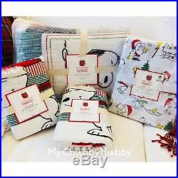 Pottery Barn Kids 7Pc PEANUTS F/Q QUILT 2 Shams & QUEEN Percale SHEETS Snoopy