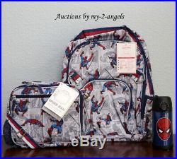 Pottery Barn Kids ALLOVER SPIDERMAN Large Backpack Lunch Bag Water Bottle comic