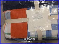 Pottery Barn Kids Aaron Quilt Full Queen Patchwork Navy Orange Madras Green NWT