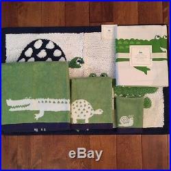 Pottery Barn Kids Alligator Jacquard Bath hand wash Towel shower curtain mat