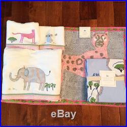 Pottery Barn Kids Animals of the World Bath hand wash Towel shower curtain mat