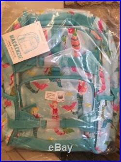 Pottery Barn Kids Aqua Mermaid Large Backpack Lunchbox Water Bottle Set New