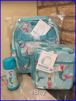 Pottery Barn Kids Aqua Mermaid Small Backpack Lunchbox Water Bottle Set New Girl