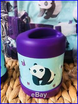 Pottery Barn Kids Aqua Panda Large Backpack Lunch Box Water bottle Thermos NWT