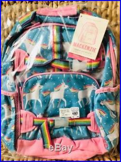 Pottery Barn Kids Aqua Unicorn Large Backpack Lunch Box Water bottle New Set