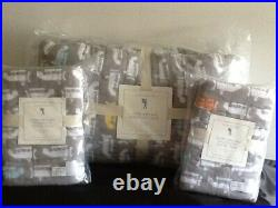 Pottery Barn Kids Asher Airplane Wholecloth Quilt Full/queen & Shams Graynew