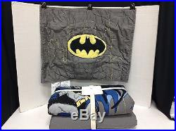 Pottery Barn Kids BATMAN Gotham City TWIN quilt shams DC Comics Superhero New