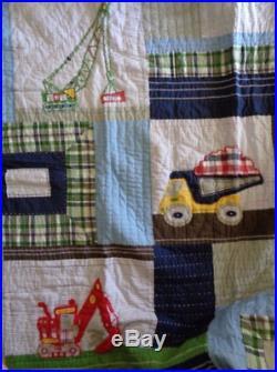 Pottery Barn Kids BUSY BUILDER trucks FULL QUEEN quilt + 2 Shams tractor