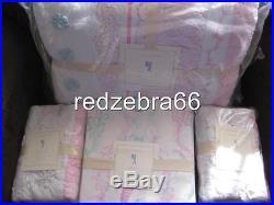 Pottery Barn Kids Bailey Ruffle Full Quilt Shams Mermaild Sheet Aqua Pink NEW 7P