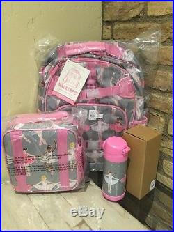 Pottery Barn Kids Ballerina Large Backpack Lunch Box Water Bottle New Set