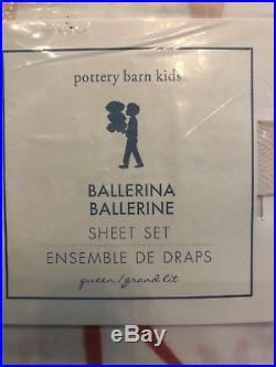 Pottery Barn Kids Ballerina Queen Sheet Set Dance Ballet Twirl Dancer Pink New