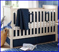 Pottery Barn Kids Belgian Linen Nursery Bedding Set Quilt & Sham NWT Navy Baby