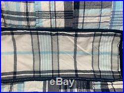 Pottery Barn Kids Blue AQUA Plaid MADRAS TWIN Quilt + Sham Bedroom Bed Reverse