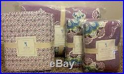 Pottery Barn Kids Brooklyn floral TWIN quilt ONE SHAM sheet set purple lavender