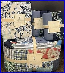 Pottery Barn Kids Bryce Vintage Surf patchwork FULL quilt shams sheet set island