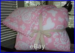 Pottery Barn Kids Butterfly Loft Quilt & Sham Bedding Set In Full Queen NWT Pink