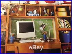 Pottery Barn Kids Cameron Office desk SYSTEM HUTCH Honey corkboard cubby cabinet