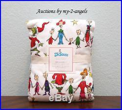 Pottery Barn Kids Christmas Dr. Seuss's THE GRINCH Flannel Full Sheet Set TEEN