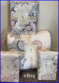 Pottery Barn Kids Clara Horse FULL quilt standard shams sateen sheet set ARIA