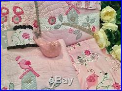 Pottery Barn Kids Clarafull Quiltshams Valancesshadeartbird Pink Grey Last